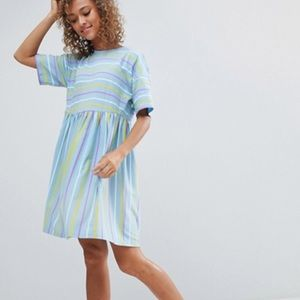 ASOS Design Smock Dress in Cut about stripe